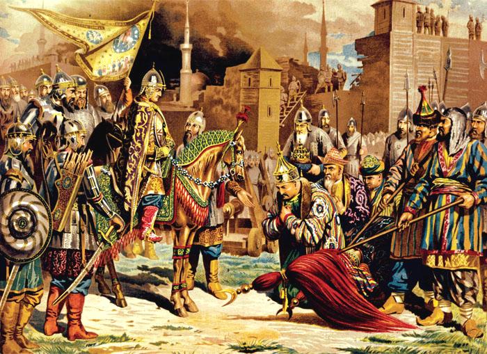 Алексей Кившенко. Покорение Казани. Плененного Едигира, царя казанского, приводят к Ивану Грозному