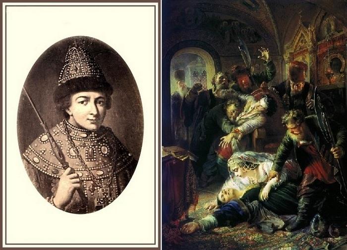 Портрет Федора Годунова и картина Константина Маковского Убийство сына Бориса Годунова.