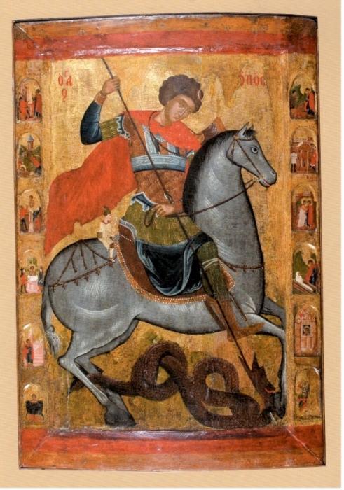 Икона Св. Георгий с житием, XVI-XVII век, ГИМ, выставка Болгарские иконы