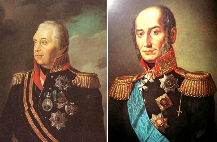 Генерал-фельдмаршал Михаил Кутузов и генерал-фельдмаршал Михаил Барклай-де-Толли - полные кавалеры ордена Святого Георгия.