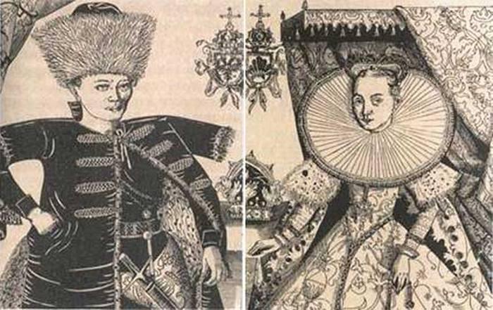 Лжедмитрий I и Мария Мнишек. Гравюры с портретов Ф.Снядецкого. Начало XVII века.