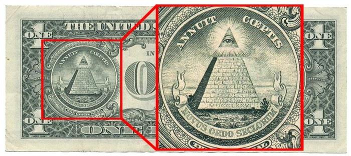 Масонский символ на однодолларовой купюре.