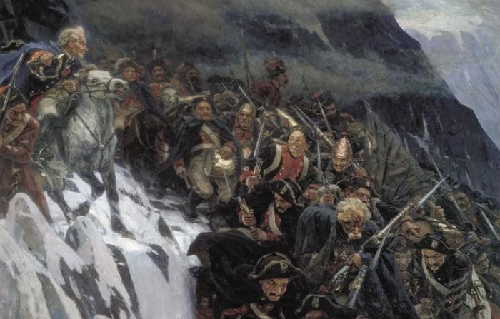 В.Суриков. Переход Суворова через Альпы.