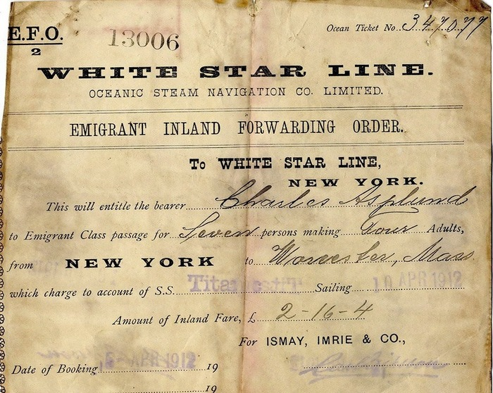 Пассажирский билет на Титаник. Апрель 1912.