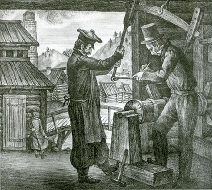 Декабисты Бестужев и Торсон в ссылке на маслобойне. Литография.