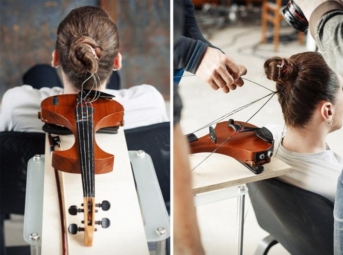 Получившиеся струны закрепляют на скрипке
