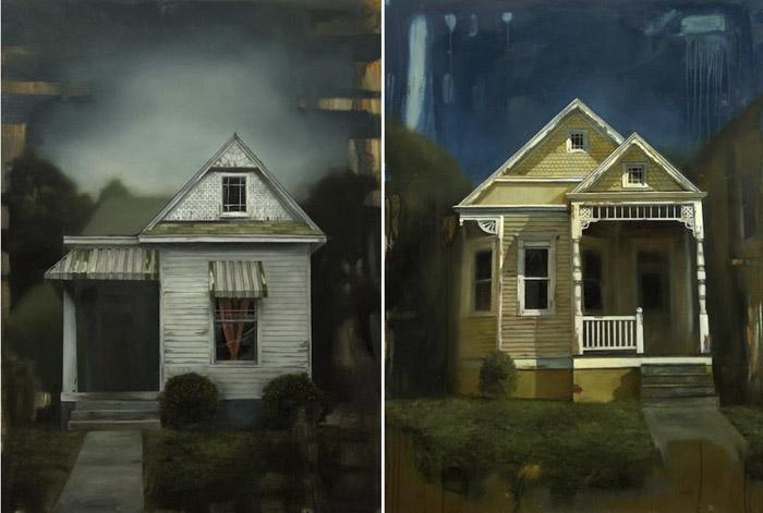 Американский живописец Джаред Смол (Jared Small) очарован мрачноватой романтикой архитектуры старых районов родного Мемфиса.