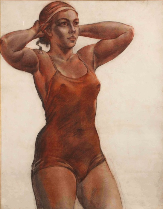 Александр Дейнека, «Спортсменка, завязывающая ленту» - эскиз к картине 1951 года «Купальщица».