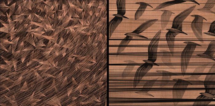 Выставка Кая и Санни «Caught By The Nest» («Пойманные в гнезде»), фрагменты двух принтов