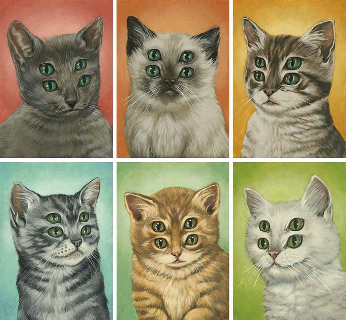 Четырехглазые котята, написанные  для выставки Minumental