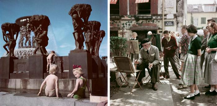 Слева: дети играют в парке скульптур, Осло, Норвегия, 1951. Справа: Монмартр, Париж, 1952