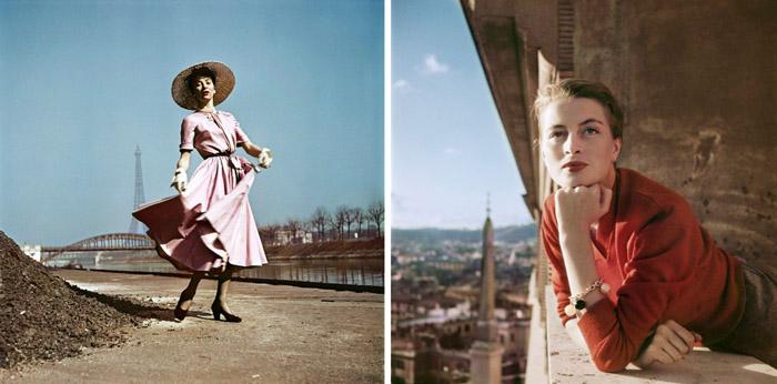 Слева: фотомодель в платье Диор, берег Сены, Париж, 1948. Справа: французская модель и актриса на балконе, Рим, 1951