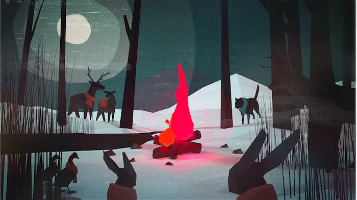 Yule Bonfire & Forest Friends by Conrad McLeod