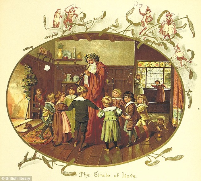 Иллюстрация из книги, опубликованной в 1894 году в Лондоне, изображает детей, водящих хоровод вокруг Деда Мороза