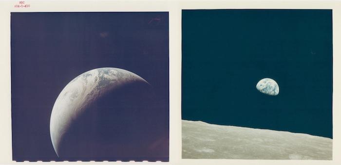 Слева: Растущая Земля с расстояния 10,000 миль, Apollo 4, ноябрь 1967. Справа: William Anders, Закат Земли, впервые увиденный человеком, Apollo 8, декабрь 1968