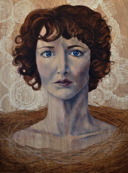 Портреты выполнены акриловыми красками и графитом по берёзовым доскам