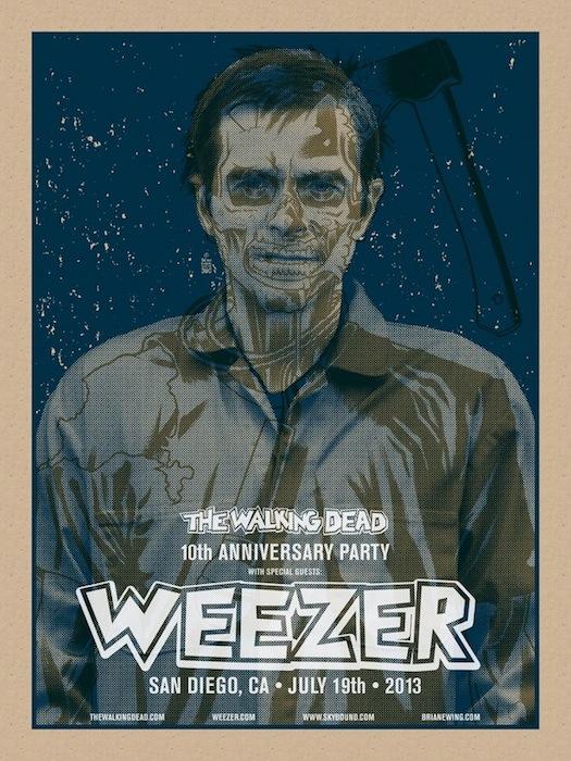 Одна из афиш выступления группы  Weezer на вечеринке по поводу десятилетия комикса «The Walking Dead» («Ходячие мертвецы»)