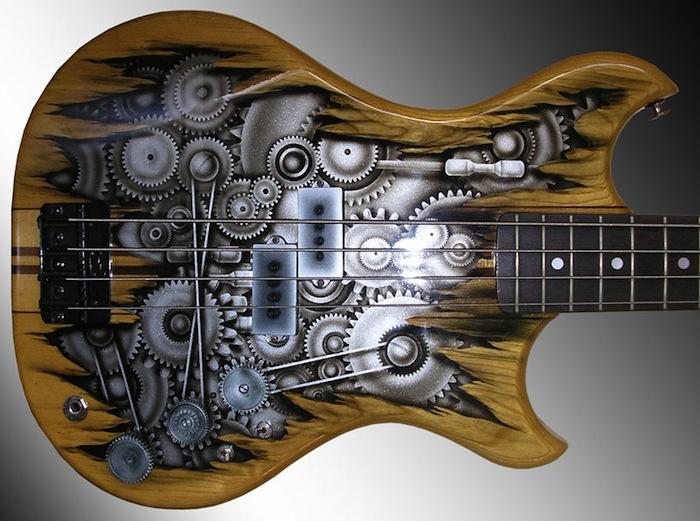 Гитара с изображением часового механизма