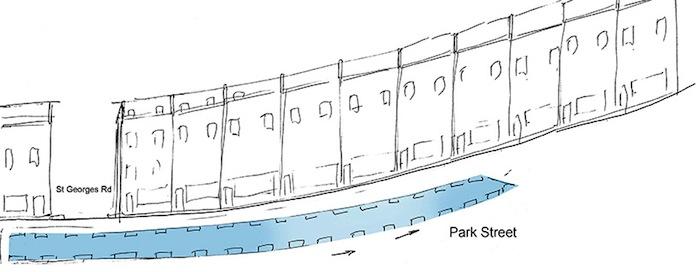 Схема расположения водного спуска на Парк-Стрит