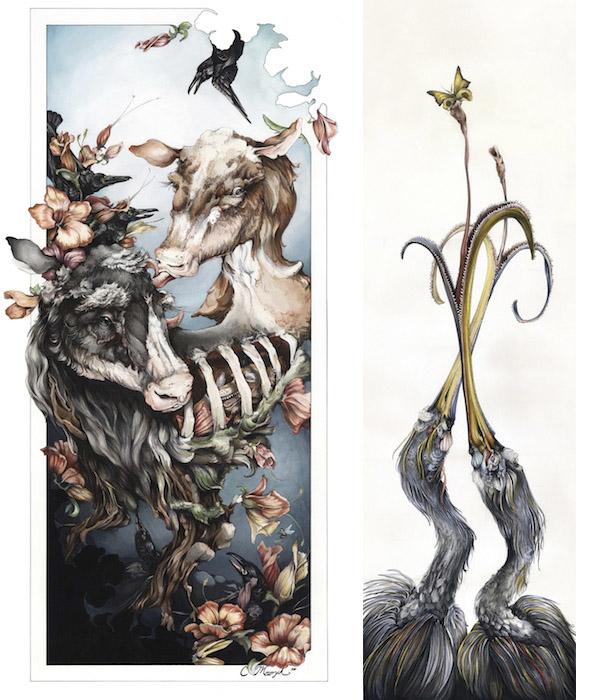 Слева: Корова ворона (The Crow's Caw), справа: Ловцы мотыльков (The Moth Catchers)