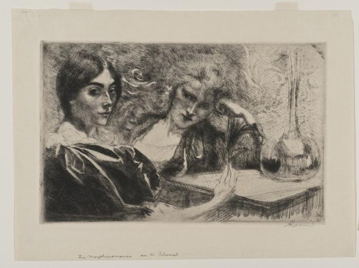 Paul Albert Besnard, Morphinomanes ou Le Plumet (Морфинистки или Перо), 1887.