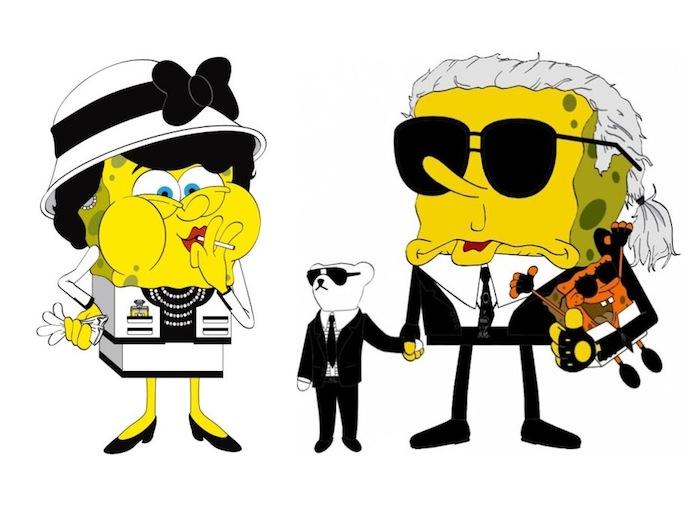 Серия иллюстраций «Спанч Боб» : Коко Шанель и Карл Лагерфельд