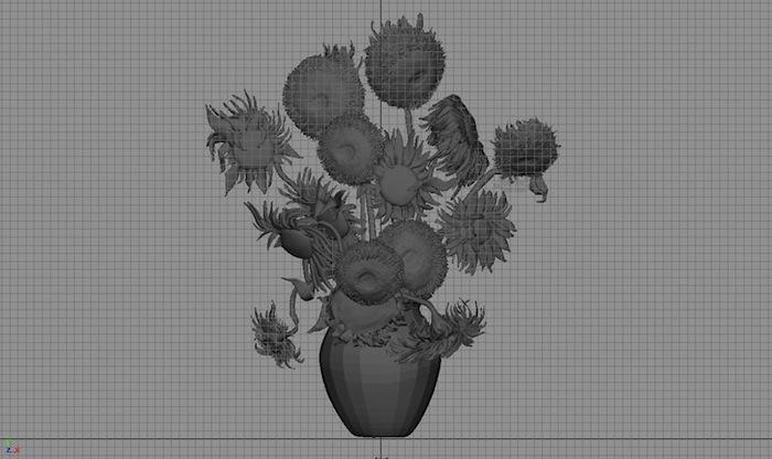 «Подсолнухи» (2013), 3D рендер