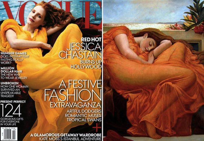 Фотосессия Анни Лейбовиц для журнала Vogue. Слева: обложка декабрьского номера. Справа: картина «Пылающий июнь» Фредерика Лейтона