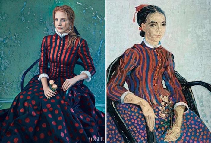 Слева: Джессика Честейн, платье Alexander McQueen. Справа: «Японочка» («La Mousme», 1888) Винсента Ван Гога