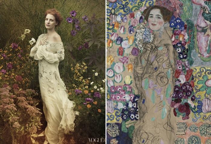 Слева: Джессика Честейн, платье Vera Wang. Справа: «Портрет Рии Мунк» («Portrait of Ria Munk III», 1917–1918) Густава Климта