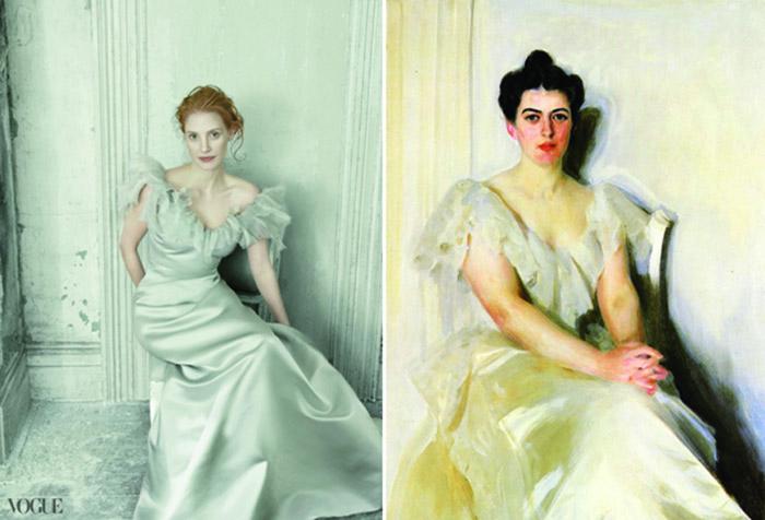 Слева: Джессика Честейн, фото Анни Лейбовиц. Справа: «Портрет Френсис Кливленд Престон» Андерса Цорна