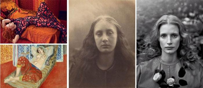 Также источниками вдохновения для Лейбовиц послужили картина «Одалиска в красных шароварах» Анри Матисса (слева) и фотопортрет матери Вирджинии Вулф, сделанный англичанкой Джулией Маргарет Камерон (справа)