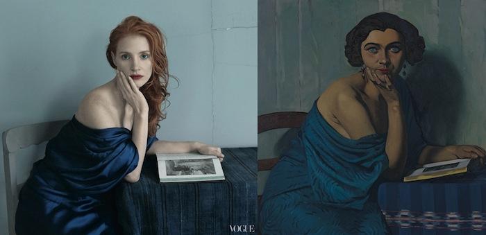 Слева: Джессика Честейн, платье Alexander Wang. Справа: «Le Retour de la mer» (1924) Феликса Валлоттона