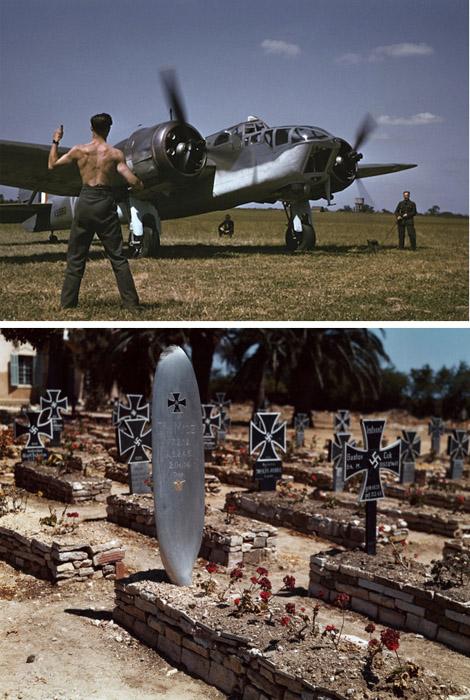 Сверху: механик подает сигнал «на взлет» пилоту Союзников перед рейдом над окупированной Францией, Англия, 1941. Снизу: немецкое кладбище, Тунис, май 1943