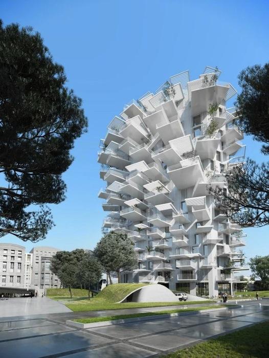На концепцию 17-этажной башни во многом повлияла привычка жителей солнечного Монполье проводить большую часть времени под открытым небом.