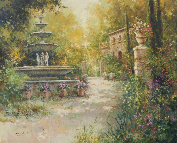 Роман Францес, 'Garden with classical fountain', Испания