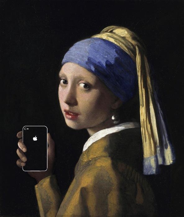 «Девушка с жемчужной серёжкой и Iphone» (оригинал - картина  Яна Вермеера, 1665)