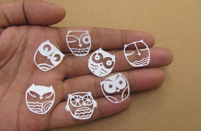 Миниатюрные бумажные совы от Parth Kothekar.