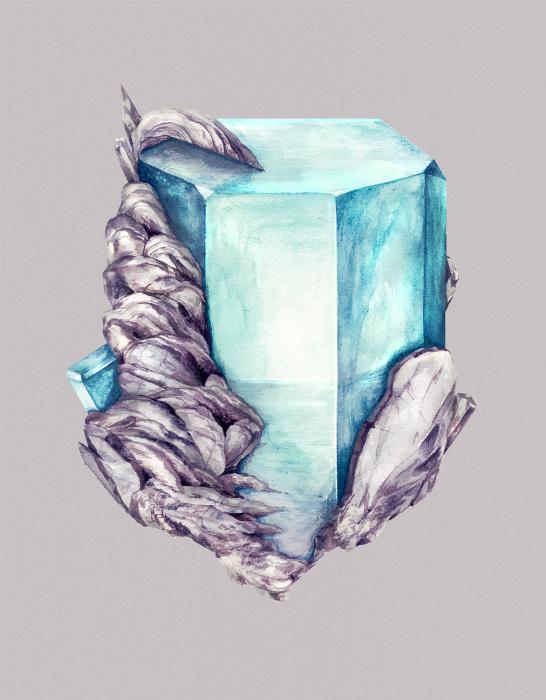 Акварельные рисунки минералов от художниц из Вены.