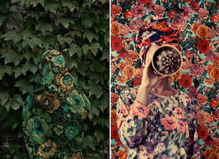 Автопортреты в маскировке от фотографа Lucia Fainzilber.