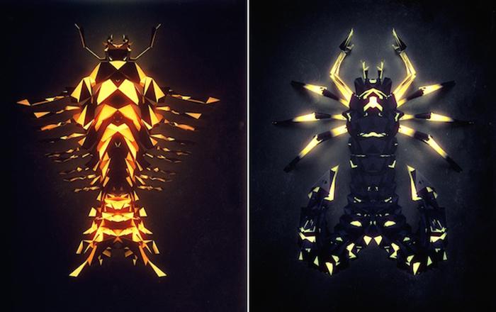 Инопланетные насекомые от иллюстратора Chaotic Atmospheres.