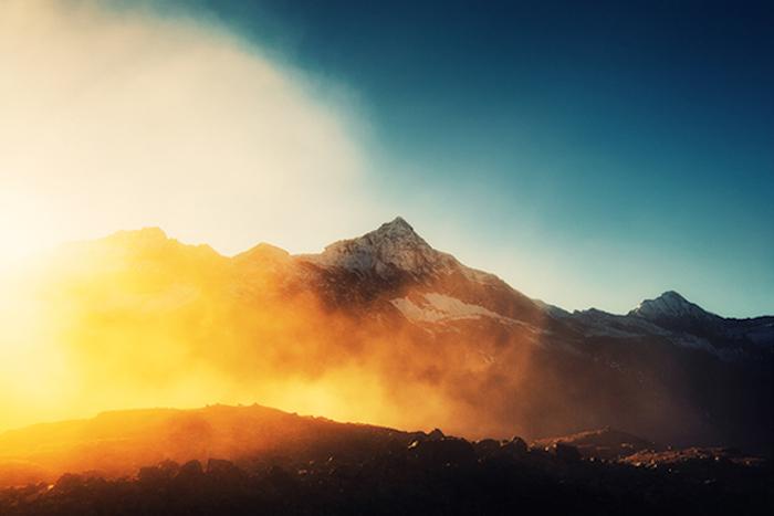 Великолепный альпийский пейзаж.