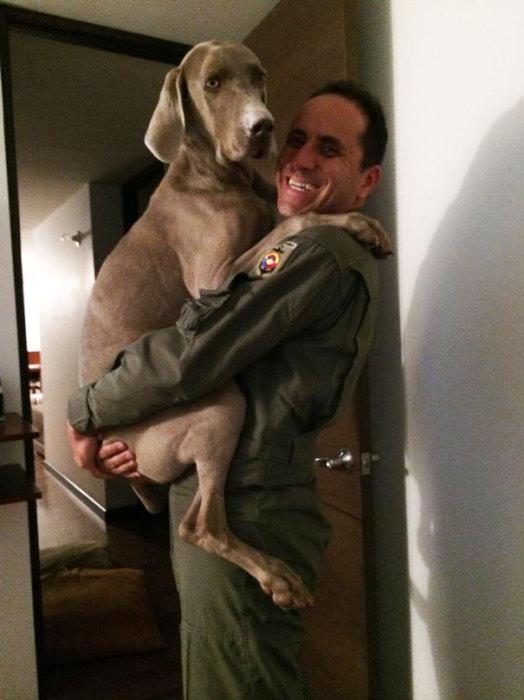Хозяин со своим немаленьким псом на руках.