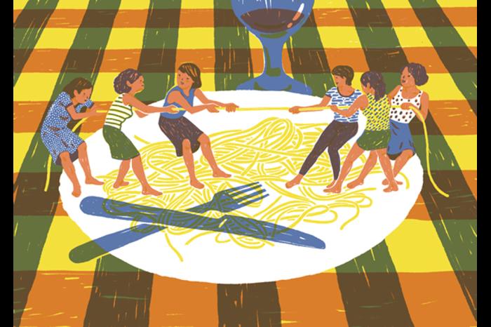 Перетягивание каната из спагетти от иллюстратора Марты Монтейро (Marta Monteiro).