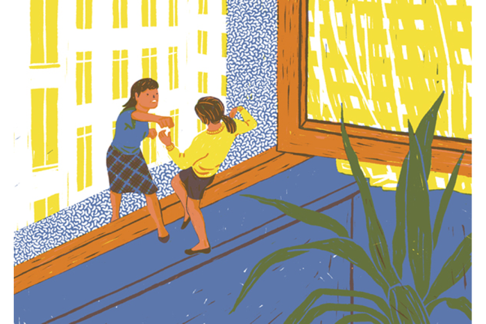 Драка на подоконнике на иллюстрации от Марты Монтейро (Marta Monteiro).