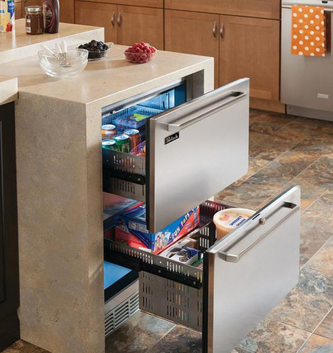 Выдвижные холодильные ящики - практичный кухонный атрибут.