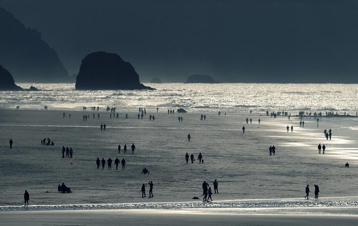 Силуэты людей на пляже на фотографии, сделанной Николасом Бувье (Nicolas Bouvier).