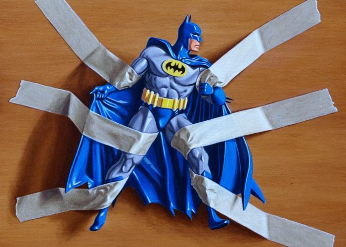 Картины с изображением Бэтмена в ловушках от Симона Монк (Simon Monk)