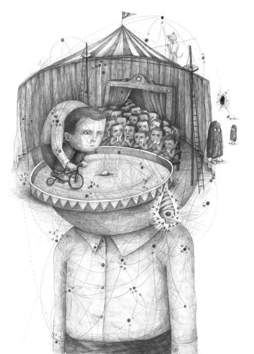 Карикатурный портрет мальчика и его мыслей от Stefan Zsaitsits.