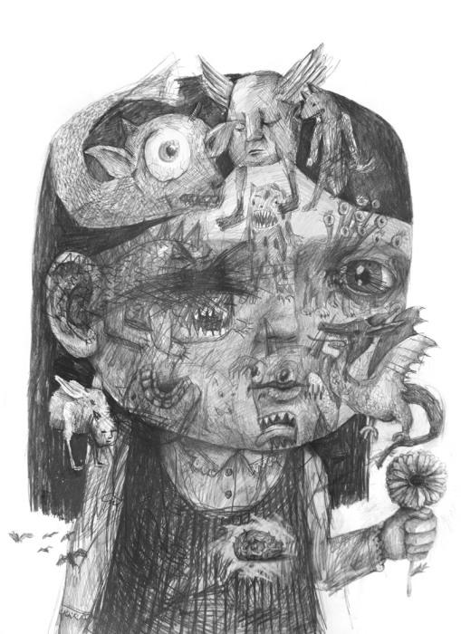 Жутковатый сюрреалистический портрет девочки от Stefan Zsaitsits.